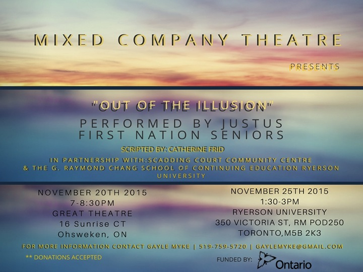 """A promotional postcard for """"Out of the Illusion"""" which includes performance details."""