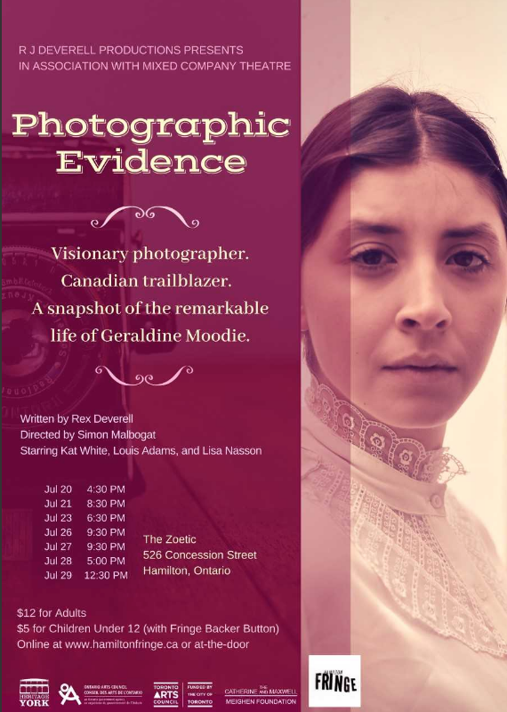 "A promotional poster for ""Photographic Evidence"" which includes details for the performances."