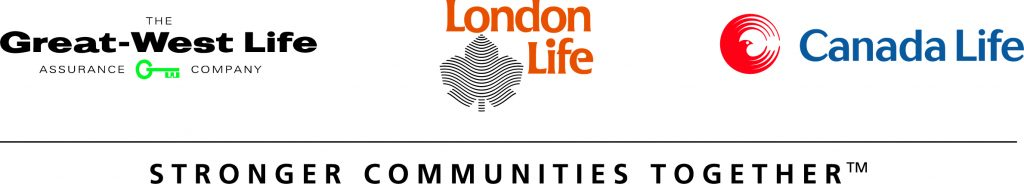 """Logos for the Great-West Life Assurance Company, London Life, and Canada Life. Text below those logos says """"stronger communities together""""."""