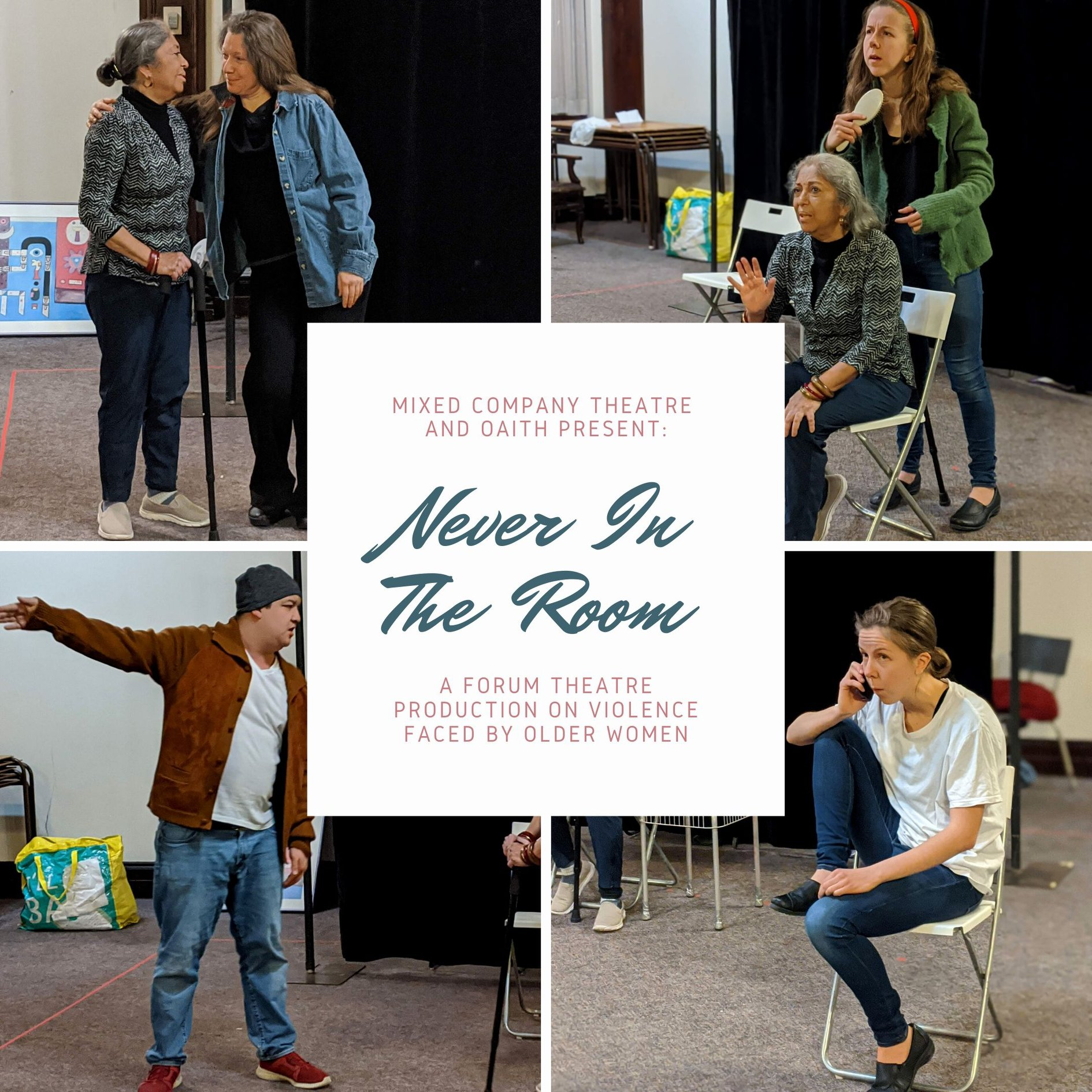 """In each corner is a different photo from """"Never in the Room"""". In the top left corner is one person hugging another person's shoulders. In the top right corner an older adult is sitting in a chair with their hand stretched out in a """"stop"""" motion. A younger person stands behind the chair. In the bottom left corner is a person pointing behind themselves. In the bottom right corner is a person sitting on a chair, talking on the phone. In the middle of the page is a white box with the project title."""