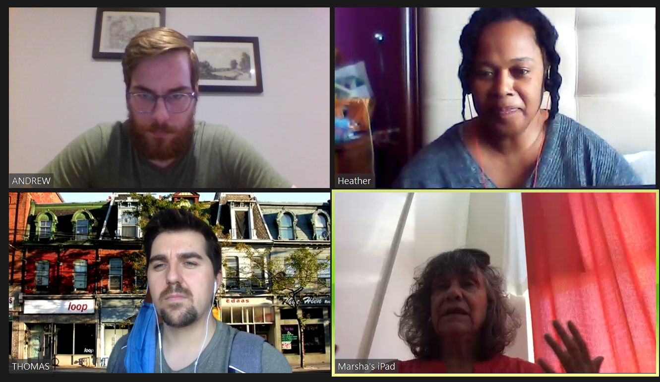 """Four people in a Zoom meeting for a performance of """"The Protest."""" They are all looking forward at their screens."""