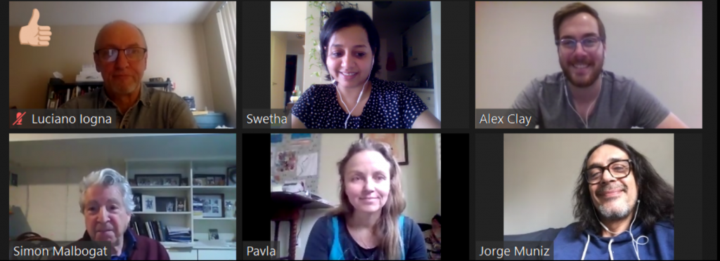 Mixed Company artists in a Zoom meeting, looking forward.