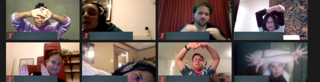 Eight people in a Zoom meeting. They are all making different shapes with their bodies by moving their arms, head, neck, and hands.