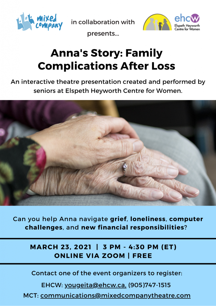 """The promotional poster for """"Anna's Story"""" which includes details for the performance."""