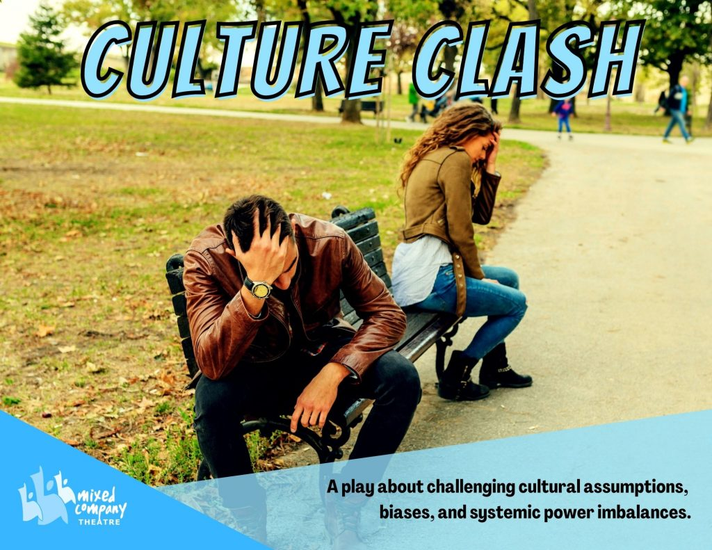 """A promotional flyer for """"Culture Clash"""". It has an image of two people sitting on  bench, facing away form each other, as well as a brief description of the play."""