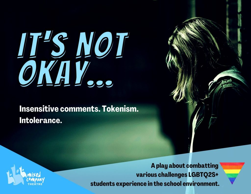 """A promotional flyer for """"It's Not Okay"""". It includes a photo of someone standing with their back against a wall, as well as a brief description of the play."""
