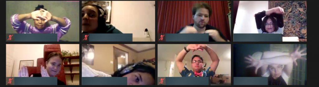 Eight people in a Zoom meeting. They are all using body language to create different images.